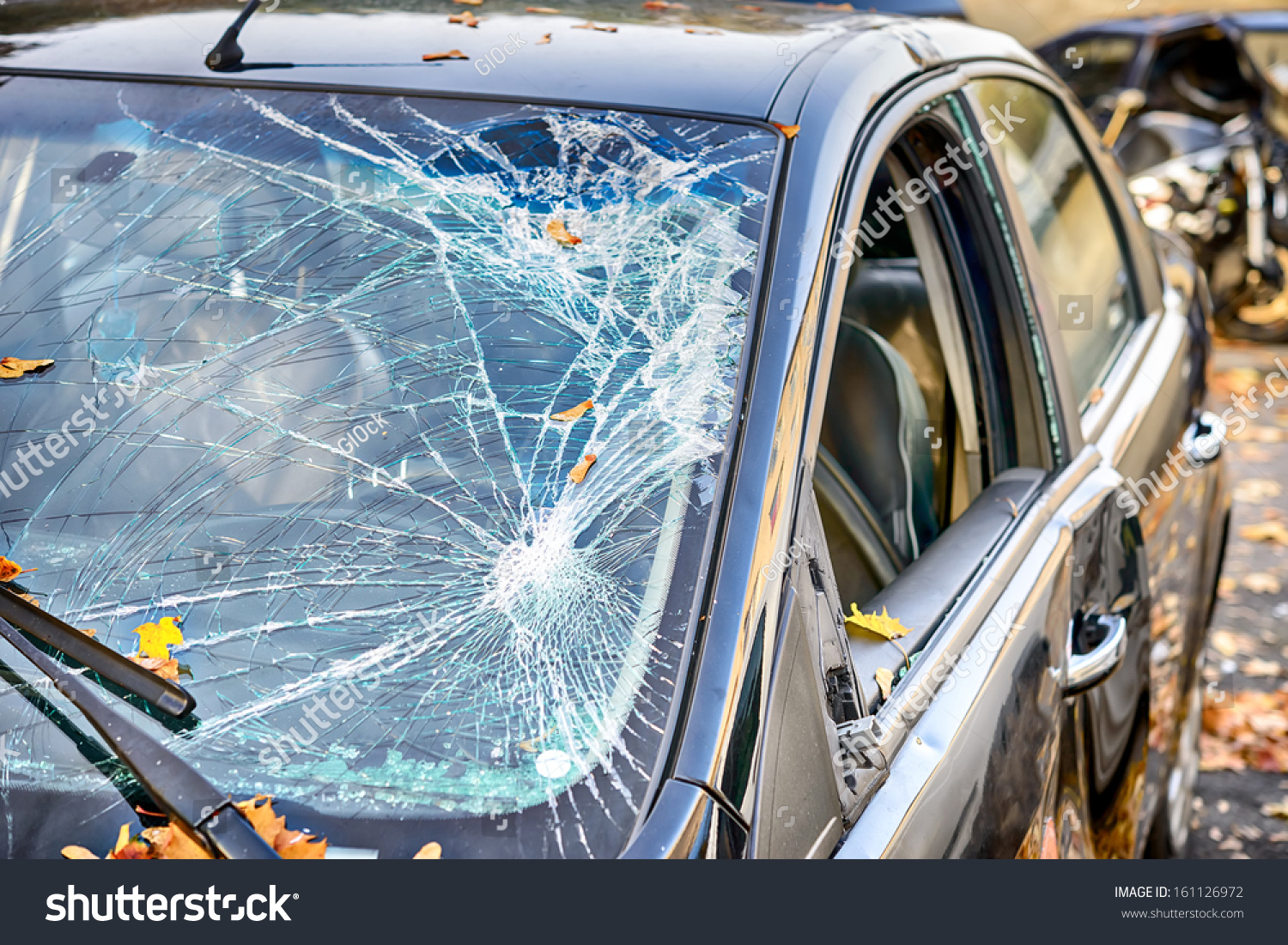 stock photo broken windshield 161126972